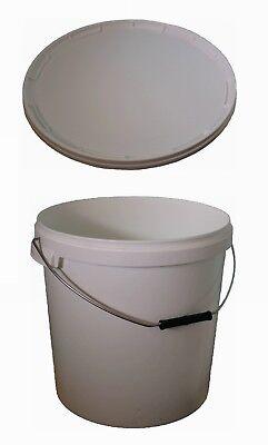 Eimer 20 L (weiß) mit Griff und Deckel (weiß) aus Plastik (neu, rund) *10011* ()
