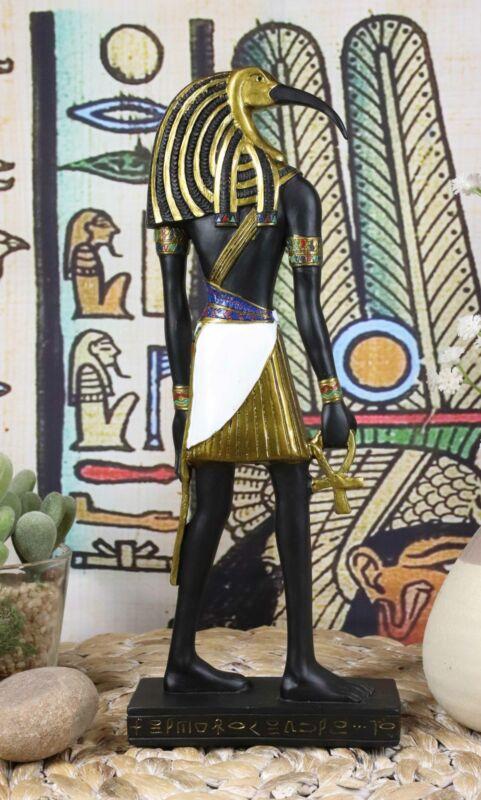 "Ebros Classic Egyptian God Thoth Holding Ankh Slim Profile Figurine 10"" H"