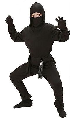 Boys Ninja Fancy Dress Black Costume Outfit Samurai Warrior Karate Age - Boys Ninja Outfit