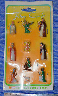 Vintage Fibre-Craft Miniature Plastic Painted Nativity Figures Hong Kong NOS