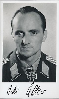 Wilhelm (Willi) Noller signed photo.KC winner.Flew 1058 missions.Killed 86 tanks