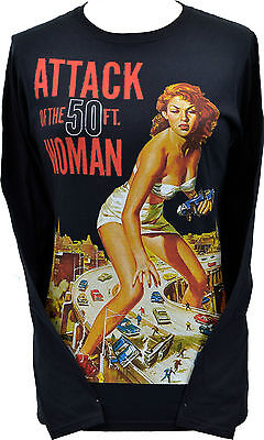 WOMENS BLACK LONG SLEEVE TOP ATTACK 50ft FOOT WOMAN 1950's RETRO B-MOVIE SCI-FI