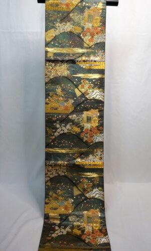 "Japanese Kimono SILK Fukuro OBI, Rokutu ,Gold/Silver thread,Sign,Coach,167"".1922"