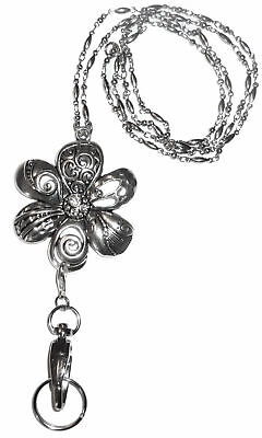 Trendy Women's Fashion Lanyard and Necklace, ID Badge Holder(Silver Flower) - Jewelry Lanyards