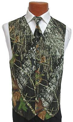 Men's Mossy Oak Break-Up Camouflage Fullback Tuxedo Vest & Tie Camo Wedding Prom - Camo Tux