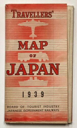 JAPAN. A LARGE TRAVELERS MAP. 1939.