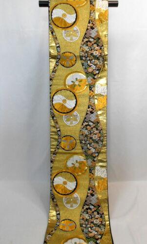 "Japanese Kimono SILK Fukuro OBI, Rokutu ,Gold/Silver ,Plants.Round,L169"".1808"