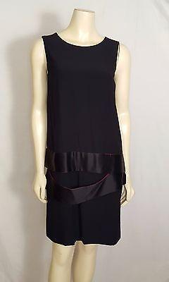 ALEXANDER MCQUEEN sleeveless V back dress knee length black and pink sz 44 sz 14