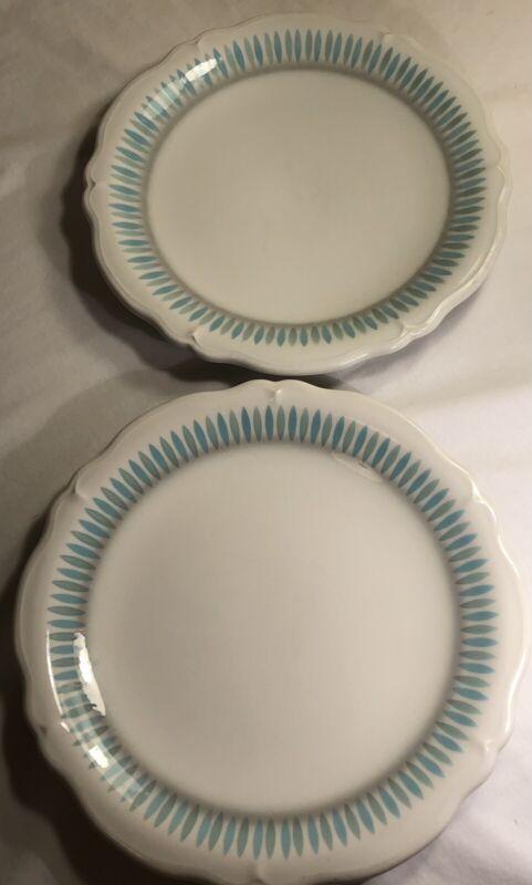 "2 Restaurant Ware Shenango Vintage 11"" Dinner Plates Linnea Blue Green Gray"