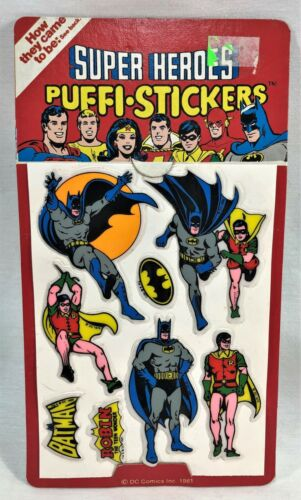 Batman & Robin 1981 DC Comics Super Heroes Puffi Stickers Puffy MOC