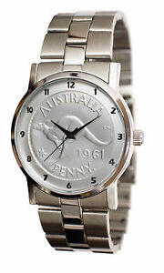 Mens Australian Penny CoinWatch - Silver Penny coin dial-Stainless steel band