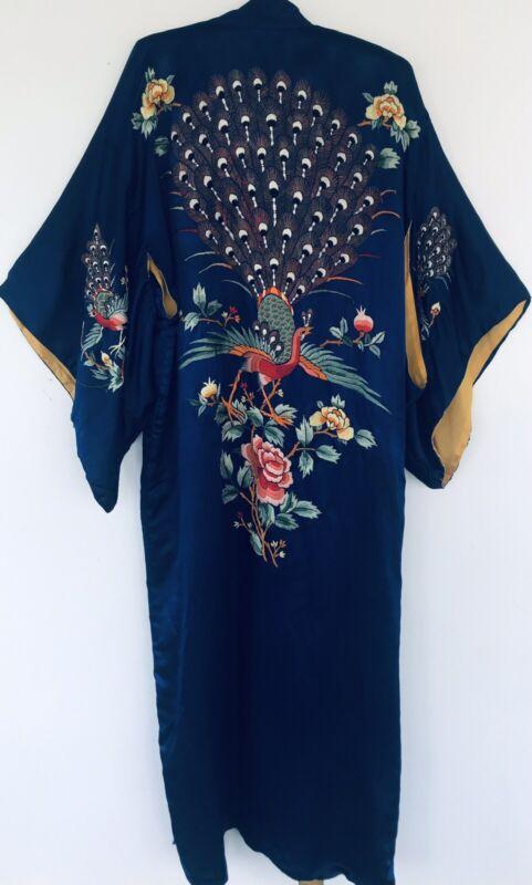 Vintage 1920s Hand Embroidered Art Deco Japanese Export Silk Kimono