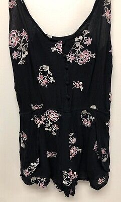 Women's Honey Belle  Romper Black Pink Crochet Trim Sleeveless Size M Medium