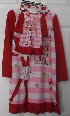 ELF ON THE SHELF NIGHTGOWN & MATCHING DOLL GOWN - PEACE LOVE COOKIES - 10 - NWT
