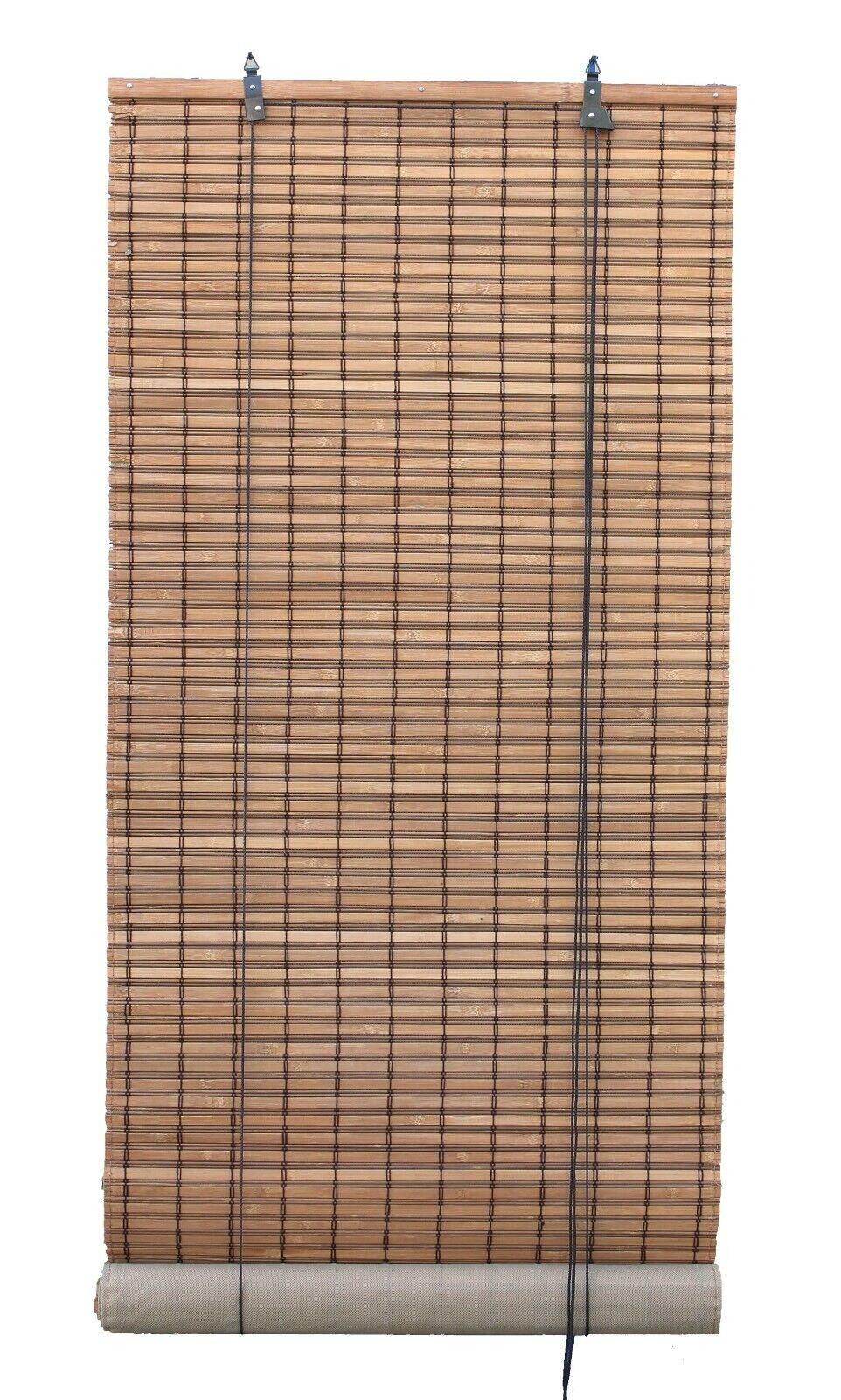 brown natural bamboo slat matchstick roll up