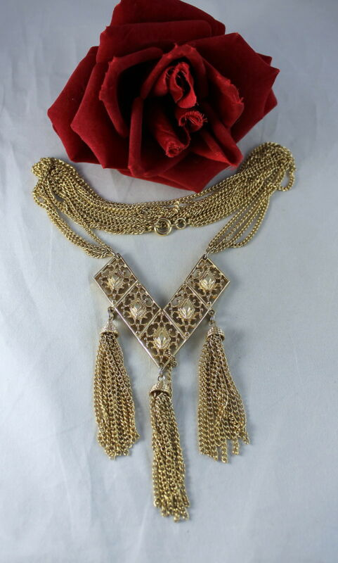 "Vintage Sarah Coventry Gold tone Tassel 28"" Necklace  CAT RESCUE"