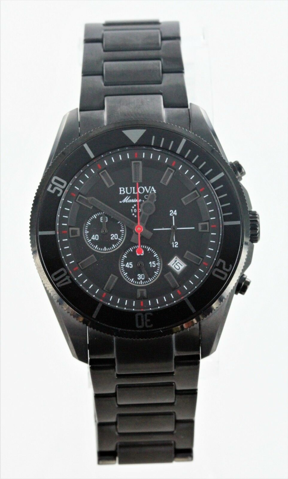 1ac89d047834 Bulova Marine Star Men s 98B231 Quartz Chronograph Black Bracelet 34mm Watch