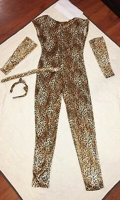 Costume Gallery Women Unitard 4pc Jungle Animal Print Sz 6-8 Sexy Theater Cat](Cat Unitard Costume)
