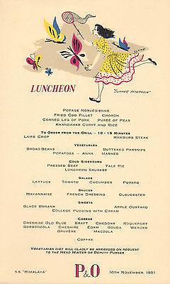 p & o - s.s. himalaya menu (  1951 ) luncheon ( summer afternoons )