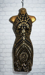 TYLER-Black-Gold-Sequin-Halterneck-Bodycon-Evening-Mini-Party-Dress-8-10-12-14
