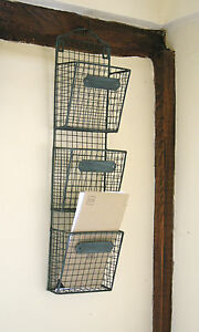 Stationery rack basket vintage chic triple wall mounted storage ebay