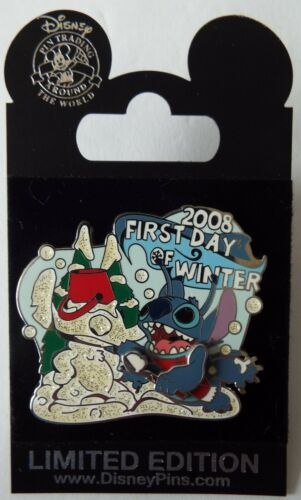 Stitch Glitter Swivel Pin First Day of Winter 2008 Disney LE 1000 – New on Card