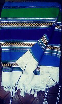 Africa hand- woven cotton tallit small blue