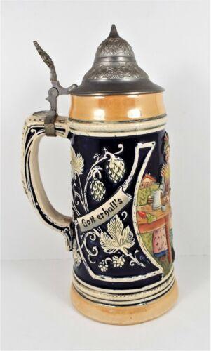 """Vintage German Lidded Beer Stein 0.5L - 9"""" T - 3 3/4"""" W  Man Woman Shotgun #4"""