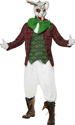 Men's Rabid Rabbit Costume Jacket Top Cravat and Trousers With Mask Size Medium - Men's Rabbit Costume