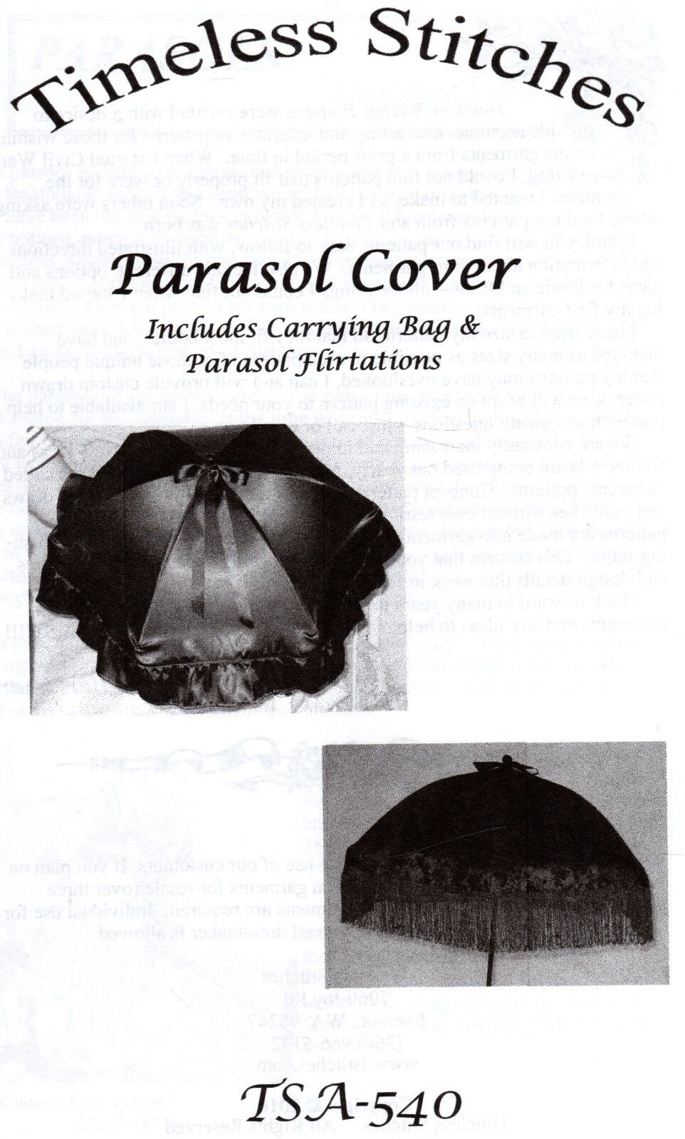 PARASOL COVER and Carrying Bag Pattern Timeless Stitches TSA
