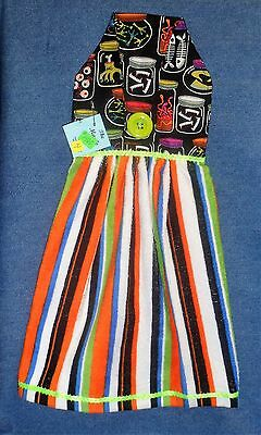 **NEW** Halloween Potion Ingredients Striped Hanging Kitchen Hand Towel #1460 - Halloween Potion Ingredients
