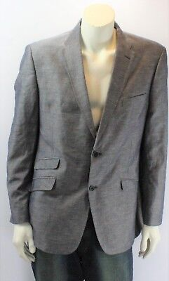 Tommy Hilfiger Men's Gray Suit Jacket Single Breasted Two Buttons Four Pocket Four Button Single Breasted Suit