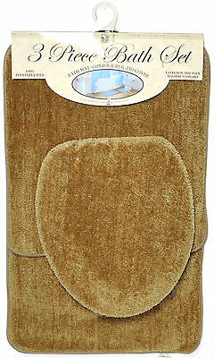 3 Piece Bath Rug Set Taupe Bathroom Mat Contour Rug Lid Cover Non Slip