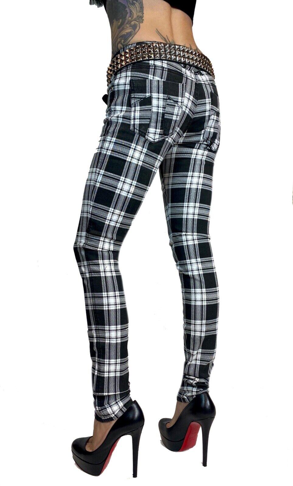 TRIPP BLACK WHITE PLAID 80S ROCK STAR SKINNY JEAN PANTS MOTO METAL PUNK IS6235P Clothing, Shoes & Accessories