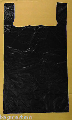 50 18x7x32 Jumbo 32 Large Black Retail High Density Plastic T-shirt Bags