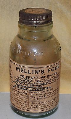 Antique Mellin's Food For Infants & Invalids Glass Bottle w/ Label