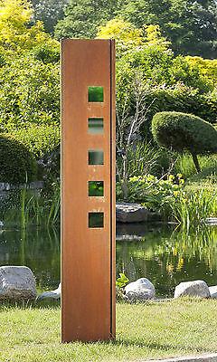 Gartenwand Sichtschutz Wand Glas Quadrat grün Stahl rost 35x195 cm