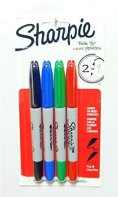 Sharpie Twin Tip Fineultra Fine Permanent Markers 4 Colors Part 32174