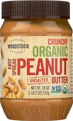Woodstock Farms-Organic Easy Spread Peanut Butter - Crunchy - Unsalted, 1 ( -