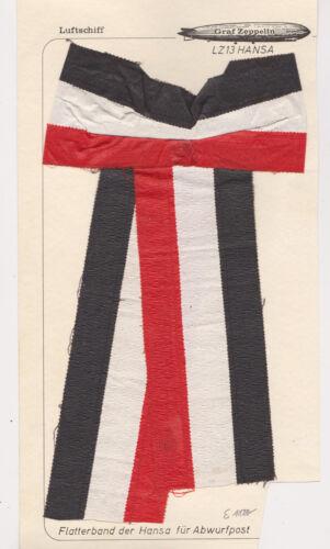 1914 GRAF ZEPPELIN LZ 13 HANSA DROPPED FROM AIRSHIP POSTAL MARKER RIBBON RARE