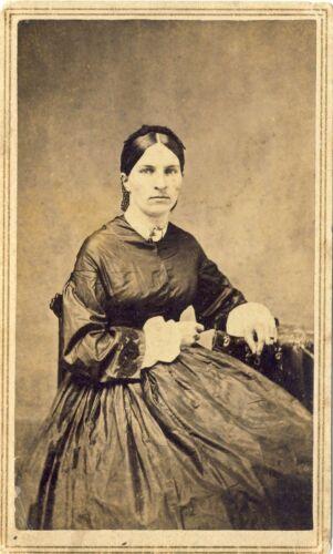 1860s Antique Victorian CDV Photo Pretty Lady Beautiful Period Style Hoop Dress