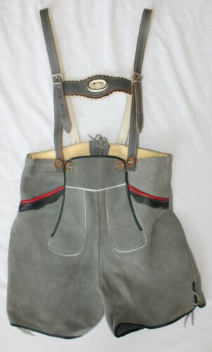 Vintage Lederhosen Suede Leather with Flower Boys Size 9 - Authentic Germany
