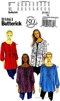 Butterick Sewing Pattern B5861 Women's 18-24 Tunics Tops misses clothing 5861