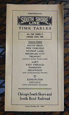 1966 South Shore Line a   railroad time tables schedules 10/30