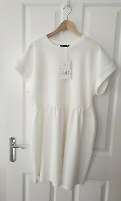 Summer stretchy New Zara White Dress Size  14-16, L could be post maternity