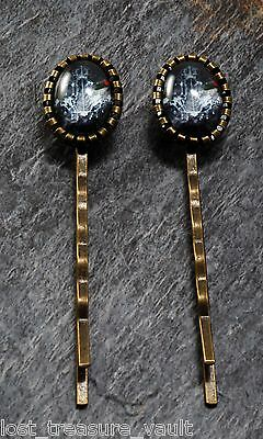 LTV Creation Bobby Pin Pair Chandelier Design Glass Cabochon Top Hair Accessory