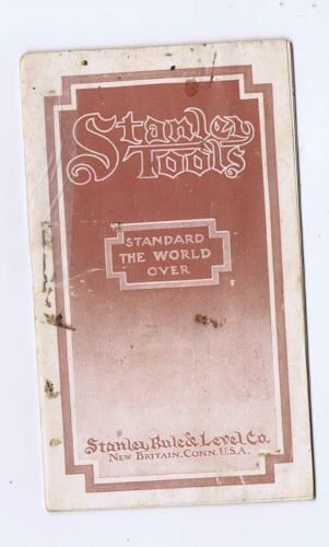 Stanley Tools rules levels planes small pocket catalog 1912