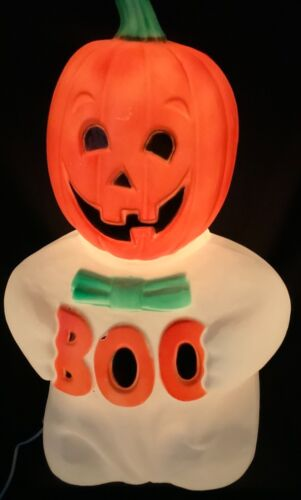 """VINTAGE TPI 24"""" PUMPKIN 'BOO' GHOST BLOW MOLD"""