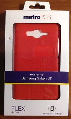 METRO PCS SAMSUNG GALAXY J7  RED FLEX GEL PHONE CASE NIB