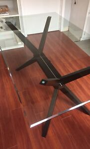 Modern Glass top dining table, wood espresso finish base